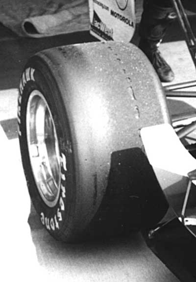 race tire showing blistering